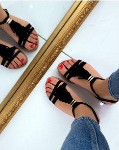 Nu-pieds en suédine noire à franges et détail doré