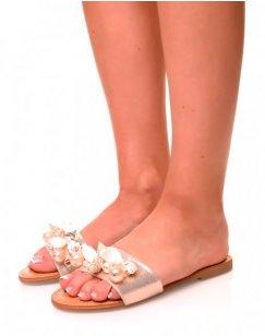 Nu-pieds gold à détails perlées et coquillages