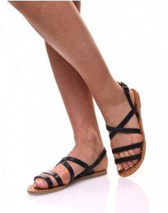 Nu pieds multi bride noirs