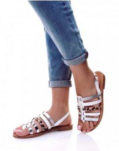 Nu-pieds multi-lanières blancs