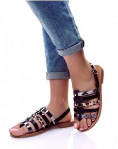 Nu-pieds multi-lanières noirs