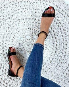 Nu-pieds noir en simili cuir