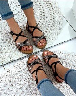 Nu-pieds noirs à brides métallisée et tressée