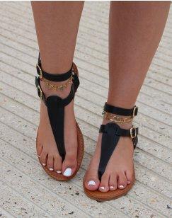 Nu-pieds noirs à double lanière et boucles dorées