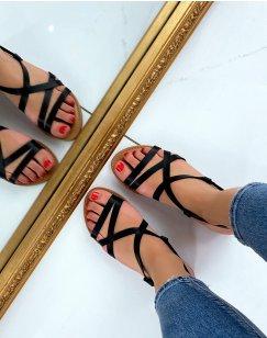 Nu-pieds noirs à multiples brides fines