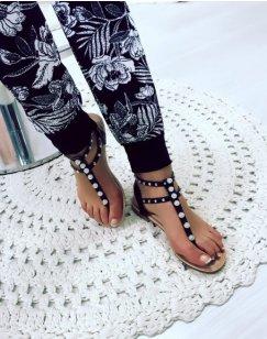 Nu-pieds noirs à perles