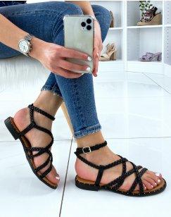 Nu-pieds noirs avec multiples brides tressées