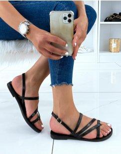 Nu-pieds noirs effet croco à multiples lanières entrecroisées