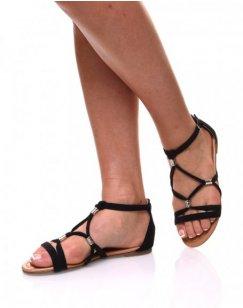 Nu-pieds noirs en suédines