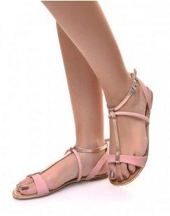 Nu-pieds roses effet écaillés