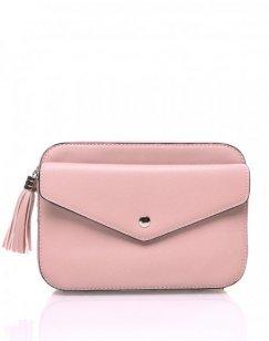 Petit sac bandoulière texturé rose poudré et fermeture pompon