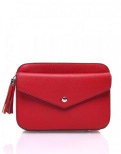 Petit sac bandoulière texturé rouge et fermeture pompon