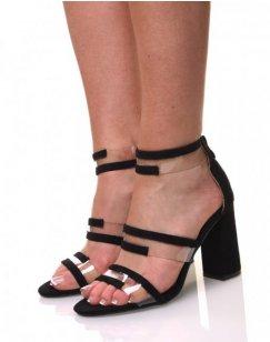 Sandale noire à lanières transparente