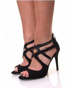 Sandale noire décolletée raffiné