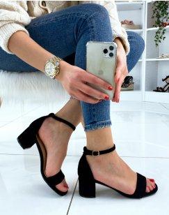 Sandale noire en suédine à petit talon