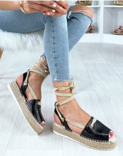 Sandales à plateforme noires effet croco