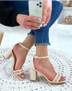 Sandales à talon beiges à chaîne dorée