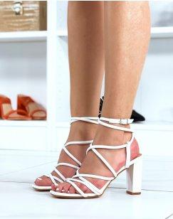 Sandales à talon blanc à multiples lanières