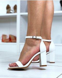 Sandales à talon blanches à fines lanières