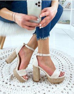 Sandales à talon en suédine beige