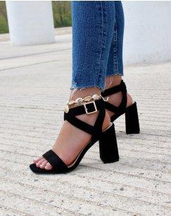 Sandales à talon en suédine noires à brides croisées