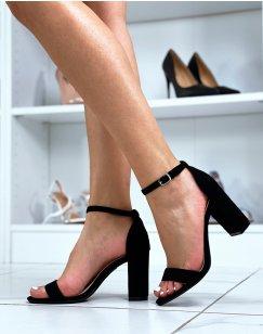 Sandales à talon en suédine noires à fines lanières