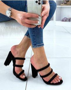 Sandales à talon et à bride noir en suédine