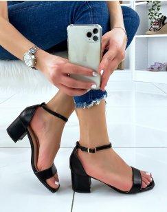 Sandales à talon mi-haut noir