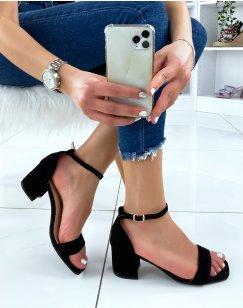 Sandales à talon mi-haut noire en suédine