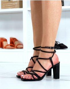 Sandales à talon noires à multiples lanières