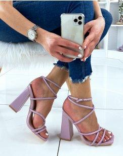 Sandales à talon violet pastel à multiple brides