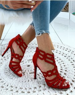 Sandales à talons aiguilles en suédine rouges