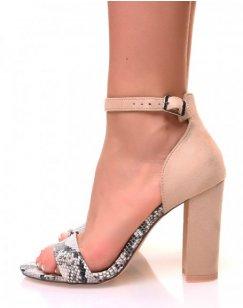 Sandales à talons beiges et effet python