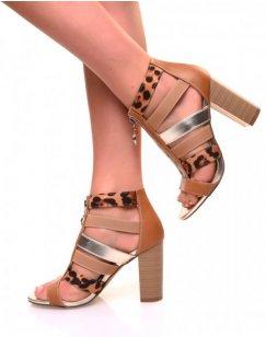 Sandales à talons bi-matières léopard et camelles