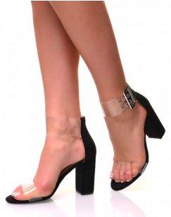 Sandales à talons carrés en suédine noires et sangles transparentes