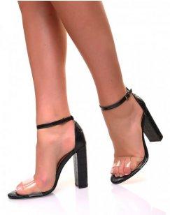 Sandales à talons carrés noires et lanières transparentes