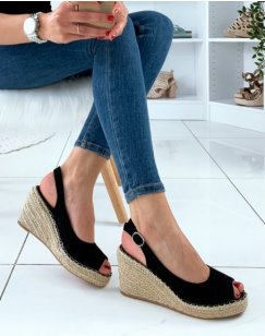 Sandales à talons compensés en suédine noire