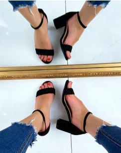 Sandales à talons en suédine noire à bride tressée