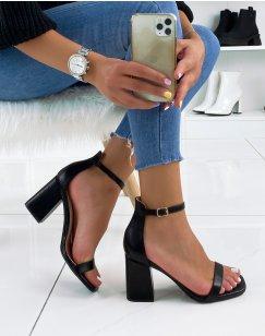 Sandales à talons noires à bout carré