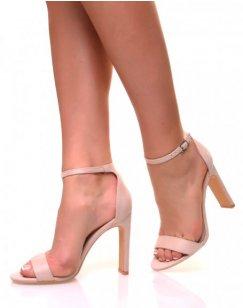 Sandales à talons plats en suédine rose pale