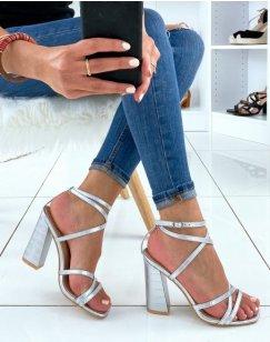 Sandales argentées effet croco à multiples lanières entrecroisées