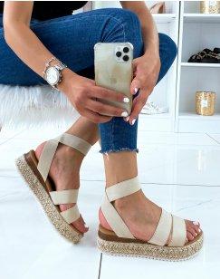 Sandales beiges à multiples brides et semelle en jute
