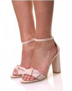 Sandales beiges effet suédine