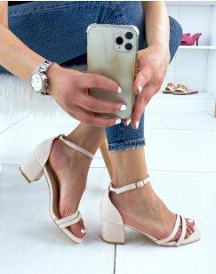 Sandales beiges en suédine à double bride