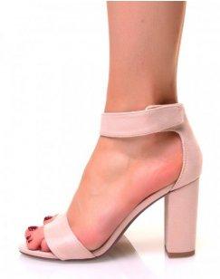 Sandales beiges en suédine à talons carrés et brides en scratch