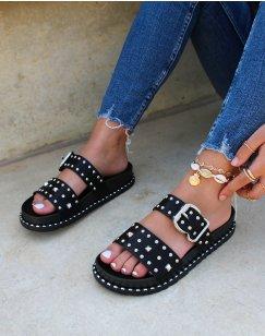 Sandales cloutées noires à boucles