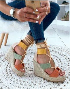 Sandales compensées beige à corde lacet sur cheville