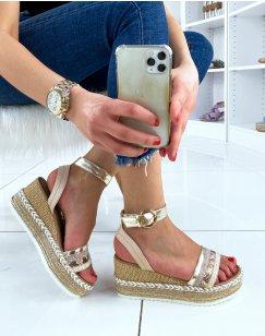Sandales compensées beiges à multiples détails pailletés