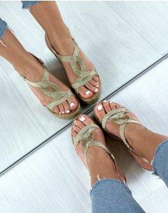 Sandales compensées dorées