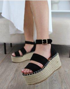 Sandales compensées en suédine noires à multiples brides